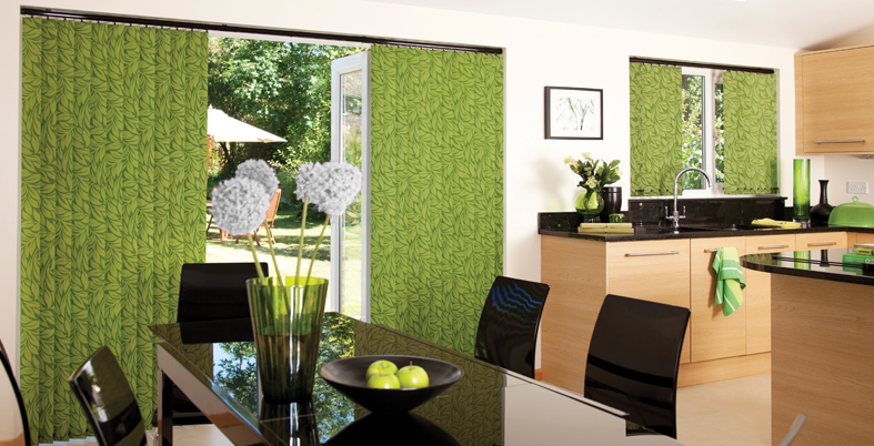 green vertical kitchen blinds