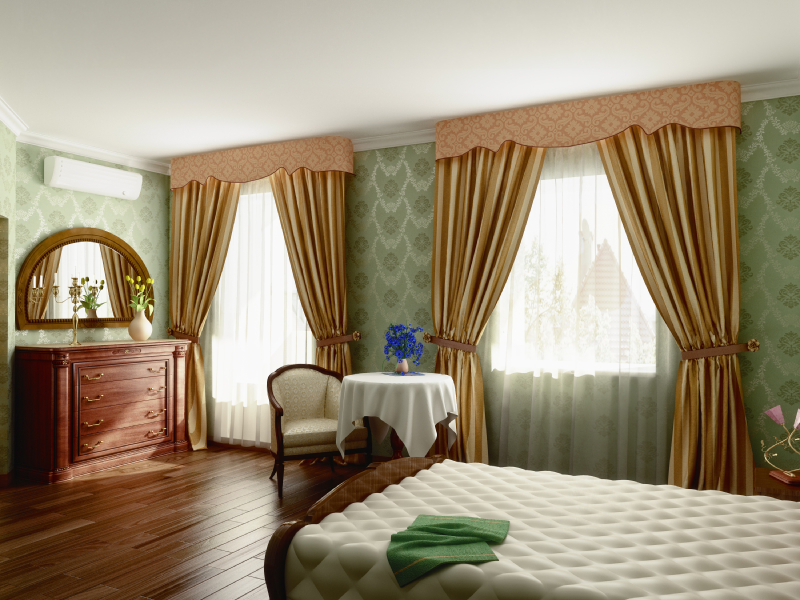 traditional bedroom with large curtains
