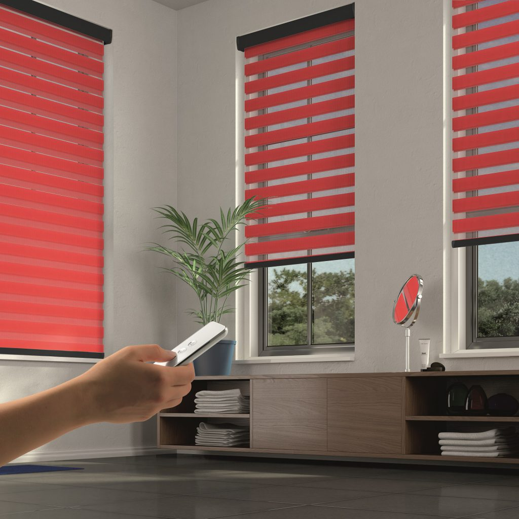 motorised vision twist blinds in bathroom