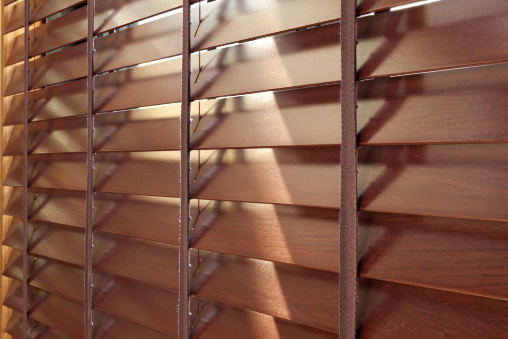 wooden venetian blinds close up